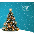doodle christmas tree on blue winter sky vector image