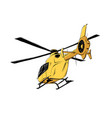drawing helicopter in yellow color vector image vector image