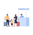 family at passport control at airport vacation vector image
