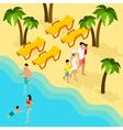 Family Tropical Beach Vacation Isometric Banner vector image vector image