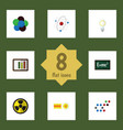 flat icon science set of diagram irradiation vector image vector image
