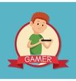 gamer playing mobile devide banner blue backgroung vector image