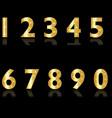Golden numbers 0-9 set