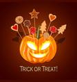 halloween pumpkin with biscuits for children vector image vector image