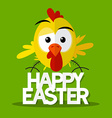 Happy Easter Title with Chick on Green Background vector image vector image