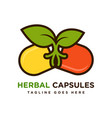 herbal capsule logo design vector image