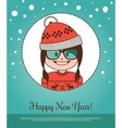 Holiday card Happy New Year with girl Santa Claus vector image vector image