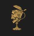 human skull in form a wine goblet vector image