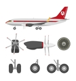 Jets constructor Flat icons aircraft parts vector image