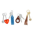keys on keychains realistic bunch with keys vector image vector image