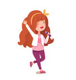 little girl singing sing in microphone on white vector image vector image