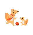 loving father fox playing with ball with his vector image