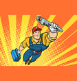 male superhero plumber with a wrench vector image