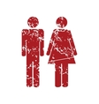 Man woman red grunge icon vector image vector image