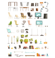 Modern Office Accessories Cartoon Set vector image