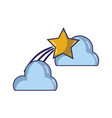 natural clouds with shiny shooting star vector image vector image