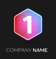 number one symbol in colorful hexagonal vector image vector image