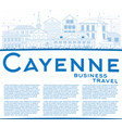 outline cayenne skyline with blue buildings vector image vector image