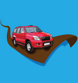 red car ready for rice vector image vector image