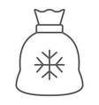 santa bag thin line icon christmas and holiday vector image vector image