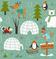 seamless pattern with arctic animals vector image vector image