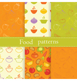 set food seamless patterns vector image vector image