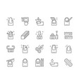 set nail salon line icons manicure tools vector image