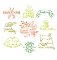 set vintage retro knitting badges labels and vector image