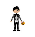 skeleton halloween costume vector image