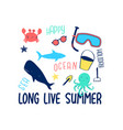 summer icons print design with slogan vector image