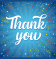 thank you colored confetti card vector image