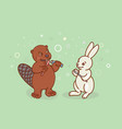 the beaver and the hare are brushing their teeth vector image vector image