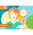 Veterinarian examining a cat with stethoscope vector image vector image