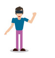 virtual reality man with vr vector image vector image