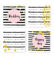 wedding glitter confetti on stripes invitation vector image