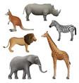 wild realistic animals elephant kangaroo lion vector image vector image