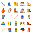 winter sport icon collection set with equipment vector image