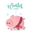 winter time banner cute pig in winter scarf vector image vector image