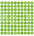 100 awards icons hexagon green vector image vector image