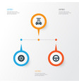 auto icons set collection of drive control vector image