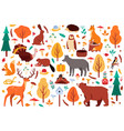 autumn cute animals wild hand drawn bear raccoon vector image vector image