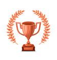 bronze trophy cup with laurel wreath winner award vector image vector image