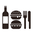 burgers knife fork and bottle vector image vector image