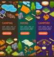 camping banner vecrtical set isometric view vector image vector image
