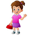cartoon a beautiful girl holding red bag