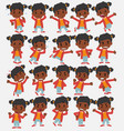 cartoon character black girl set with different vector image vector image
