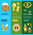cartoon funny beer characters banner vecrtical set vector image