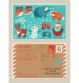Christmas holiday post card and envelope with cute vector image vector image