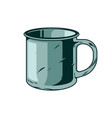 classic vintage camping metal mug for drink water vector image