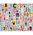 colorful alphabet letters made of newspaper vector image